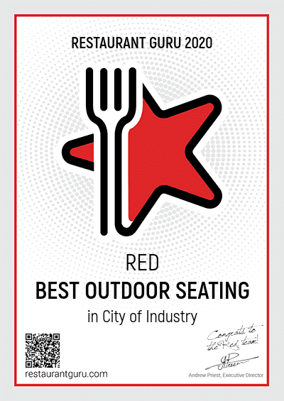 Award Certificate: Red Best Outdoor Seating in City or Industry
